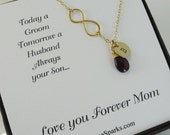 Mother of the groom card with Gold infinity necklace, Birthstone Infinity mother in law gift, Personalized Infinity Necklace with Birthstone