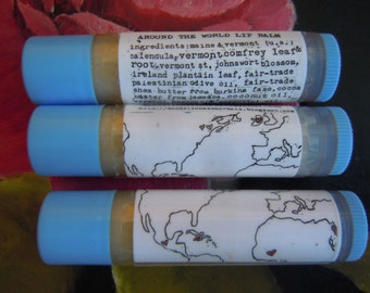 Around the World Lip Balm (Herbal First Aid/Aromatherapy Relaxation Stick) with Calendula, Fair trade Palestinian Olive Oil, Lavender