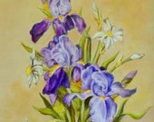 "Fine art 12X16 original oil painting on gallery wrapped stretched canvas ""Lovely Iris"""