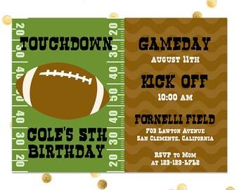 Football Party - Birthday Party Invitations Touchdown - Boy Little League Custom Quantities AvailableCustom Invitation