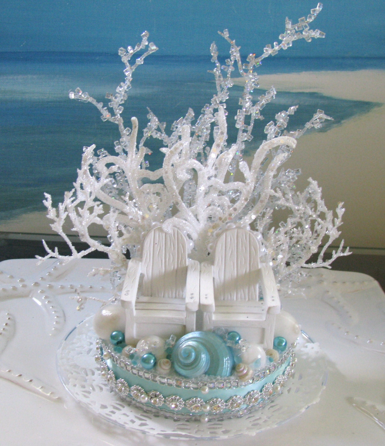 Adirondack Chairs Beach Wedding Cake Topper Seashell Wedding