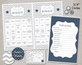 INSTANT DOWNLOAD Baby Shower Games - Silver & Navy Blue