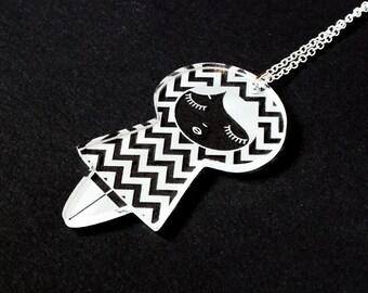 Doll necklace with chevron pattern - graphic matriochka pendant - cute kokeshi jewelry - lasercut acrylic - kawaii jewellery