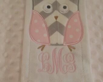 Pink and Gray Chevron Owl Burp Cloth