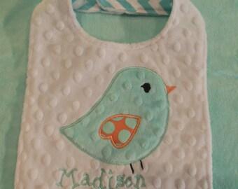 Sweet Birdie Chevron Bib/birdie/bird/bird bib/minky bib/chevron bib/girls baby bib/girls bib/toddler bib/newborn bib/bird nursery/newborn