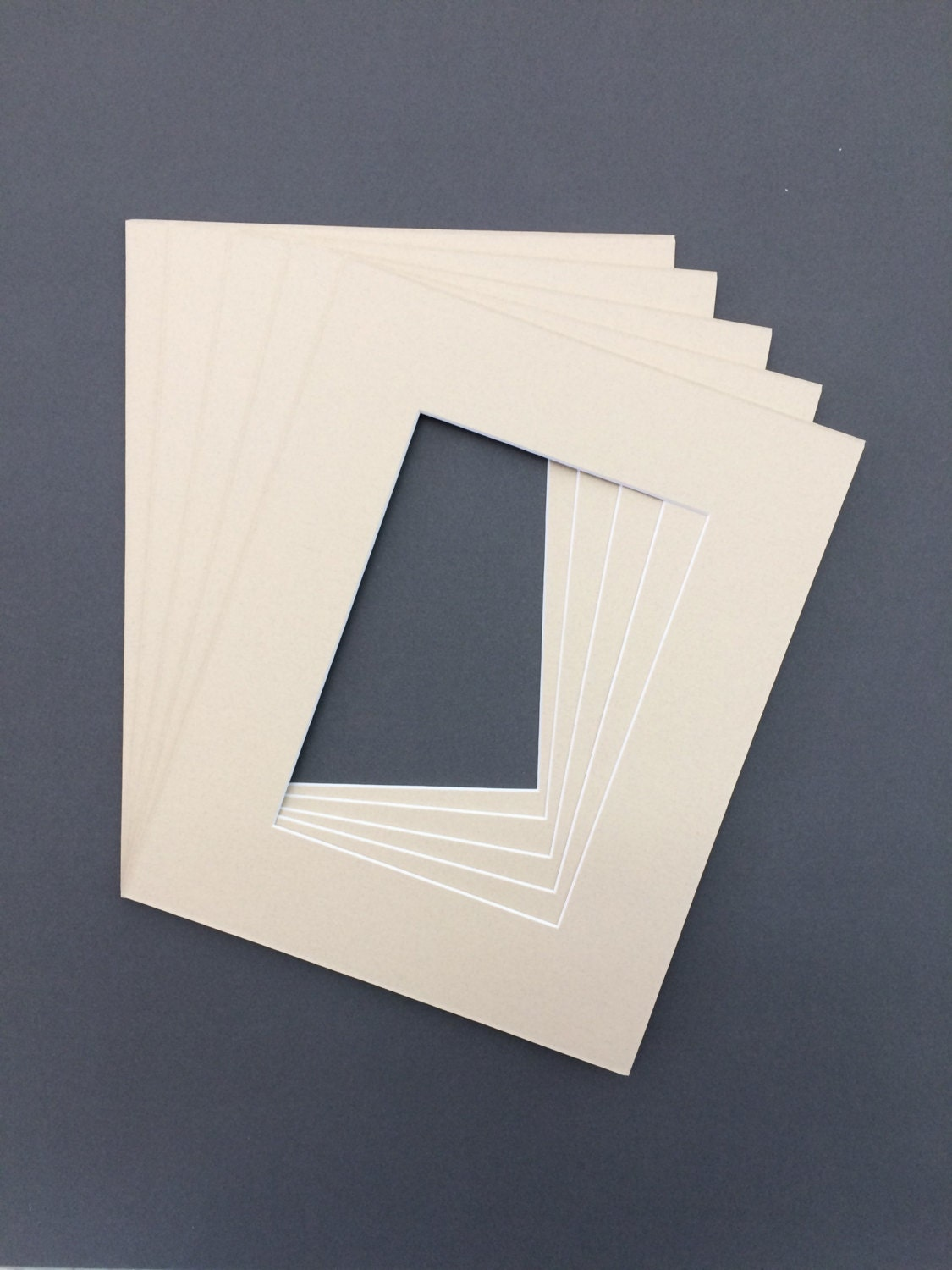 Package Of 10 11x14 Light Tan Picture Mats With White