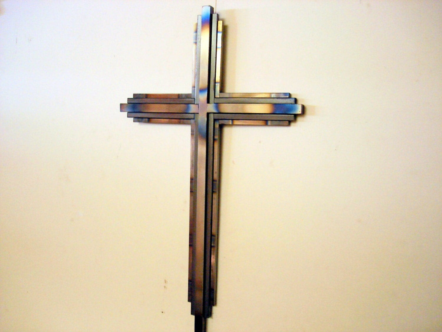 Metal decor art deco cross by davidhamiltondesigns on etsy for Deco metal mural