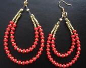 Coral Orange & Gold Long 2 row Beaded Hoop Jewelry Plated Earrings