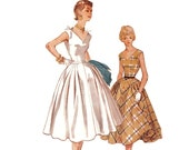 Vintage 1950s Sewing Pattern - Sleeveless Deep V-Neck Cocktail Dress with Full Skirt - 1954 Simplicity 4707, Bust 30, Uncut