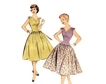 1950s Dress Pattern Advance 7071, Sleeveless Party Dress, Long Line Bodice, Gathered Tie Shoulders, Easy Vintage Sewing Pattern Bust 30