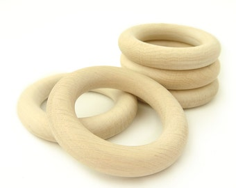 Natural Wooden Rings -Set of 5 Teething Rings -  size 2 1/4""