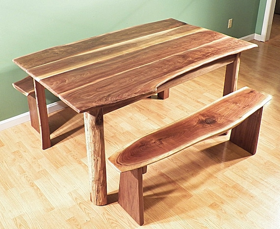 walnut dining room live edge rustic table bench set hand made