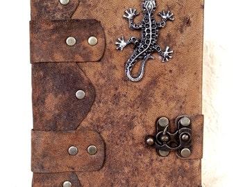 Handmade Lizard Steampunk Leather Journal Notebook Sketchbook