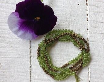 Peridot Bracelet Green Wrap Bracelet Necklace Gemstone Boho Wrap Bracelet