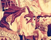 Carnival photography, carousel horse, merry-go-round, nursery decor, circus print, soft pastels, dreamy, shabby chic, vintage circus, fPOE