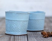 Ceramic Espresso Cup, Modern Espresso Cups in Light Blue Geometric Pattern
