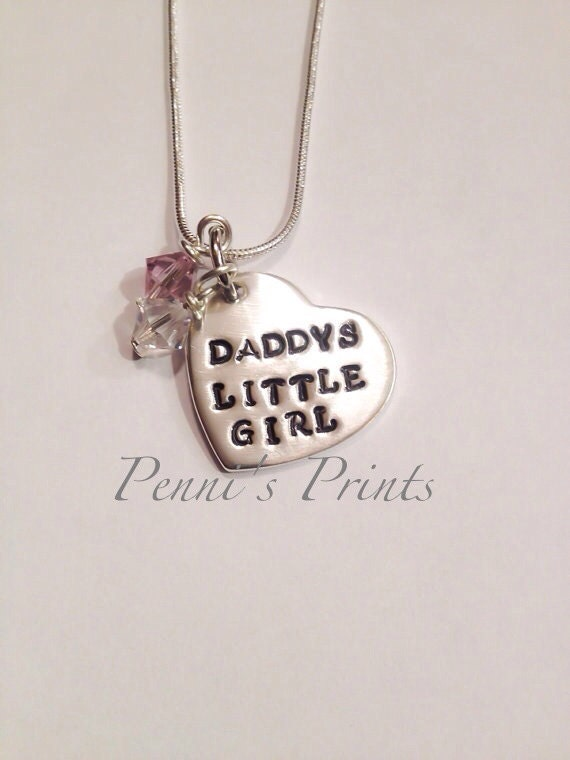 sterling daddy 39 s little girl necklace hand stamped heart