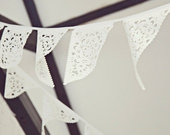 White Wedding Garland Vintage style wedding bunting, white backyard romantic decoration