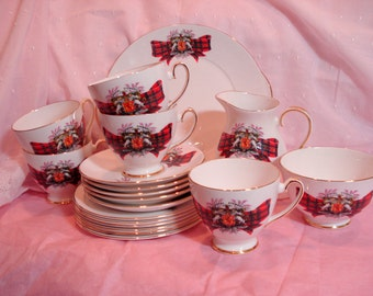 Tea Set Royal Stewart Royal Grafton Tea Cups Creamer and Sugar Plates Serving Plate Scotland  Vintage