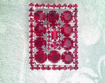 Kramer Red Rhinestone Rectangle, Stunning