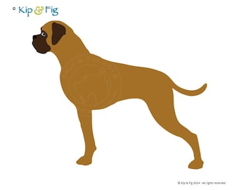 Boxer Dog applique template - PDF applique pattern