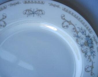 Diane Pattern Blue & White Wade Fine China Dessert Plates, Blue Roses and Scrolls, Vintage Dessert Plates, Light Blue and White Small Plates
