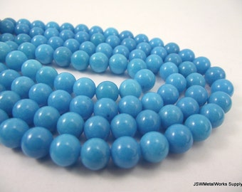 Mountain Jade Round Beads, Turquoise, 8mm, 16 Inch Strand, Whole Strand