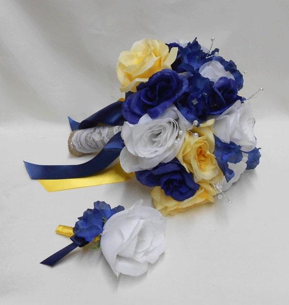 Wedding Navy Blue Yellow White Bridal Bouquet Silk Flowers