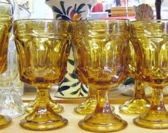 Twenty 20 Pieces Of Amber Glass Stemware Glasses Goblets Desserts