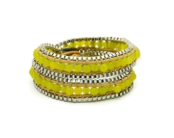 Wrap Bracelet  Brown Leather - Green Beads