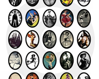 Vintage Witches Pin Up Witches 30x40mm Ovals ....Instant Digital Download Collage Sheet