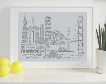 San Francisco Skyline Typography Print