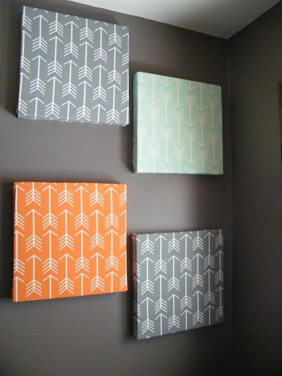 Grey Arrow Wall Decor : Items similar to gray mint and orange arrow design fabric