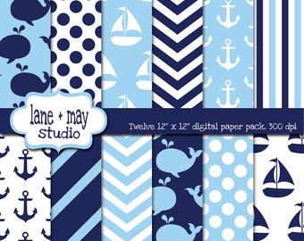digital scrapbook papers - navy, white, and baby blue nautical / whale - INSTANT DOWNLOAD