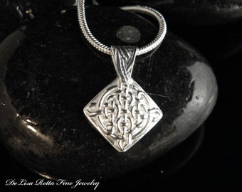 Recycled Silver Celtic Knot Pendant Necklace Sterling Silver Snake Chain
