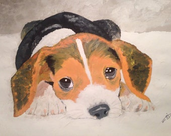 "Beagle - By Ahmad Abumraighi - 11"" x 14"""