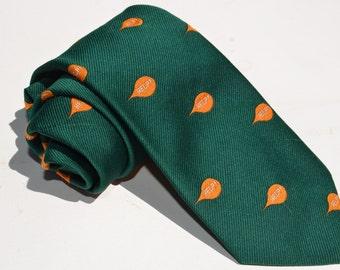 Vintage 1960s Green Wide Tie with Orange Help Balloon Club Pattern by Bluford
