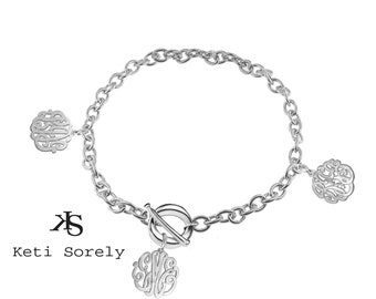 Family Monogrammed Initials - Charm Bracelet (Order Your initials) - Sterling Silver
