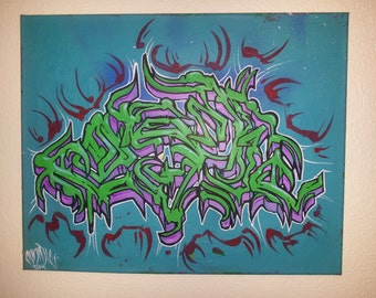 Wildstyle Custom Cosmicnine Graffiti Art Canvas 20 x 16