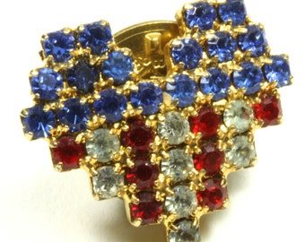 Patriotic Gold Tone Crystal Heart Shape Flag Brooch Pin Lapel Pin - Red White and Blue