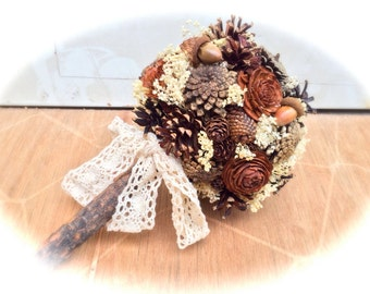 Rustic Bridal Bouquet - Wedding Bouquet - Pine Cone Bridal Bouquet - Fall Wedding Bouquet - Alternative Bridal Bouquet - Bridal Bouquets