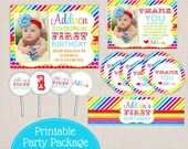 Couture Collection Rainbow Bright Stripes and Dots Printable Birthday Party Package