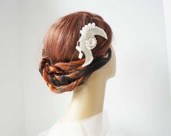 1920's Style Ivory Beaded Rhinestone Bridal Haircomb - Glam Wedding Hair Accessory - Vintage Inspired - Ready to Ship