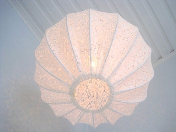 Lamp Pendant light made in shabby chic style, lace