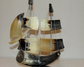 Bull Horn Sailing Ship Vintage Horn Art Sculptures