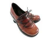 Vintage Dansko Janika Brown Leather Platform Oxfords Clogs Shoes 6.5 7 37