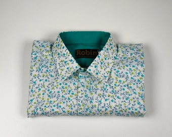 Men's shirt flower print greens with block colour inside collar, cuffs. Long sleeves Poly cotton