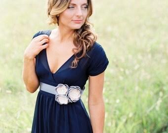 Silver Gray Bridal Flower Sash. Wedding Gown Dress Sash Belt.