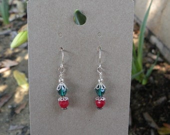 Red and Green Swarovski Crystal Earrings