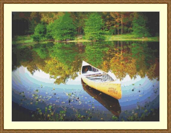 Canoe Cross Stitch Pattern /Digital PDF Files /Instant downloadable